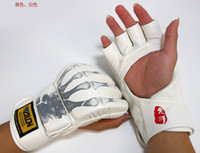 Wholesale WULON PU Skull Sanshou fighting boxing training half finger sandbag gloves mma Thai boxing MMA