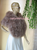 Wholesale winter opulent sophisticated smooth calming real fully handmade brand new women s Genuine Real ostrich feather fur Scarf cape brown