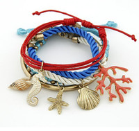 In Stock!!!!Conch Coral Shell Bracelets Hit Color 5 Sets Of ...