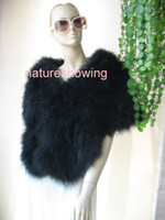Wholesale Real ostrich feather fur Scarf cape black2
