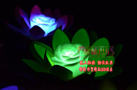 Wholesale Lotus LED Light Colors Changing LED Artificial Lotus floating water home Decor