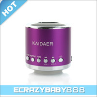 Wholesale 2016 New Mini Metal Kaidaer KD MN02 Speaker Loudspeaker Speakers w FM Radio support Micro SD Card MP3 Player Beautiful gifts student like