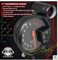 Wholesale 5 inches MM carbon fiber shell tachometer With alarm tube