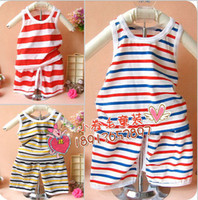 6-24 month Small Boy Summer children's clothing baby vest set striped short-sleeved pants suit