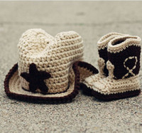 Wholesale Retail crochet baby cowboy hat shoes booties sets The newborn cap snow boots suit Cotton yarn set
