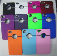 Wholesale DHL Case Back Cover with Chrome metal ring Hole Rear For iphone S case color
