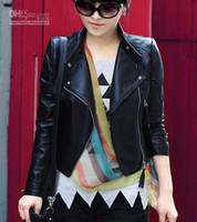 Women womens leather jackets - New arrival Korean Fashion Charm Womens Sexy Ladies Black leather Motorcycle Jacket Coat Outerwear