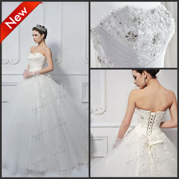 Wholesale In kind shooting hot sale Simple Elegant Sweetheart Beaded Ball Gown Wedding Dress Bridal Gown