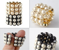 Wholesale Women Jewelry Fashion Rings Perfect Sense Punk Pearl Elastic Rings J205