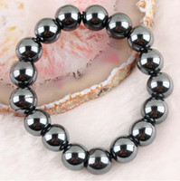 Women's magnetic hematite jewelry - New Arrive MM Magnetic Hematite Round Beads Stretch Bracelet Bangle Fashion Jewelry Free Ship