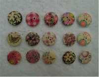 Wholesale 300 Mixed Floral Painting Wood Buttons DIY Sewing supplies mm