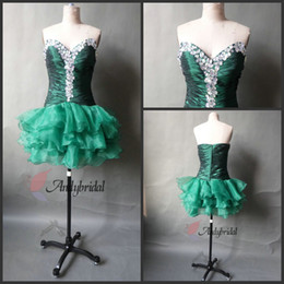 Wholesale Cheap Homecoming Dresses with Crystals Sweetheart Dropped Waist Ruffled Taffeta and Organza Short Party Dresses Rhinestones Cocktail Dresses