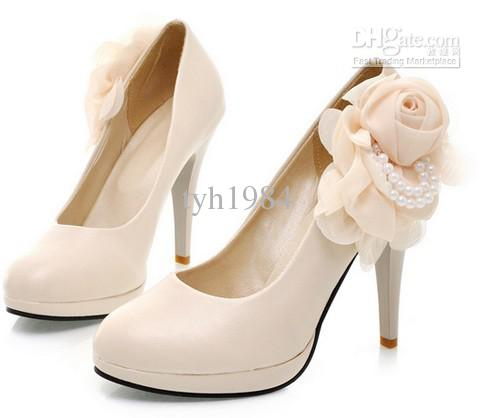 2014 Nude Color Black Flowers Temperament High Heels Wedding Shoes ...