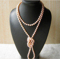 Wholesale 50 quot K savageness AAA AKOYA mm Pink pearls Necklace