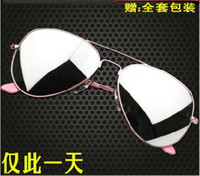 Wholesale 10PCS Mix order pink Mirror sunglasses Unisex sunglasses men Woman glasses Come With box