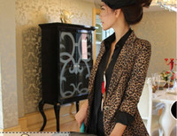 Women Vest Formal new arrival flodable sleeve suit one button leopard tailored collar jacket coat ja451