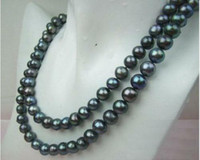 Wholesale Exquisite MM TAHITIAN REAL BLACK PEARL NECKLACE K quot