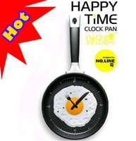 Wholesale Hot Creative wall clocks fried eggs pan shaped wall clock colors to choose Novelty clock