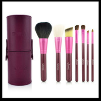 7 Pieces Face Powder Brushes  One Set of 7Pcs Professional Makeup Cosmetic Brush Set Kit Tool With cylinder box#08064-2