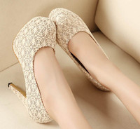 Wholesale Sexy Lace Platform High Heels Clubs Round Toe Pumps Dress Shoes Wedding Bridal Shoes