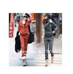 Wholesale Brand New Korean Women s Hooded Cotton Jacket pants Wild hooded sportsuit pc Drop Shipping