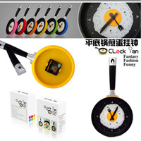 Wholesale 24pcs Creative wall clocks fried eggs pan shaped wall clock colors to choose Novelty clock