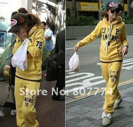 Wholesale New Korean Women s Hooded Cotton top pants Wild hooded Grey yellow sportsuit pc Drop Shippin
