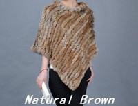 Wholesale Genuine rabbit fur hand knitting poncho cape shawl brown grey white black