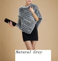 Wholesale Nice gift Genuine rabbit fur hand knitting poncho cape shawl brown grey black