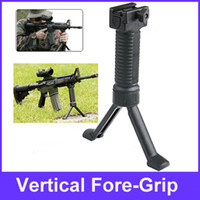 Wholesale Tactical Vertical Front Grip Fore Grip with Retractable Spring Loaded Bipod Stand for mm Rifle
