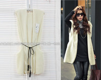 Women Plus Size Waist_Length 2012 NEW ARRIVAL Korean fashion women long fur jacket sexy sleeveless woolen coat