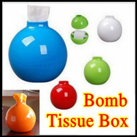 Wholesale Retail Strange New Bomb Tissue Boxes Cover For Many Colors Tissue Holder Car Napkin Box Novelty Gift