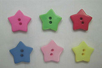 Cheap 100 Mixed Colors Star Shape Resin Ribbon Buttons, DIY favors 17mm