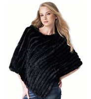 Wholesale New black Real Knit Rabbit Fur Shawl Cape Wraps hand woven cloak coat fur jacket