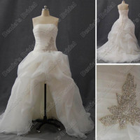 Wholesale 2013 Beach Wedding Dresses Short Front and Long Back A Line Beaded Embroidery Organza Real Hi Lo Summer Bridal Gown inspired by SPK470