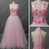 Real Photos beaded halter neck wedding dresses - Pink Glitter Flower Beaded Tulle Wedding Dress Halter V Neck Lace Appliques Real Actual Images DB61