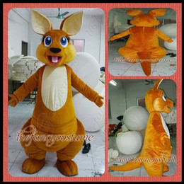 Wholesale Adult Size Forest Animal Brown Kangaroo Mascot Costume Fancy Dress Party Outfit Drop Shipping