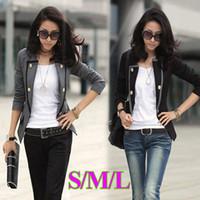 Wholesale New Fashion Spring Autumn Women Blazer Jacket Ladies Casual Suit Coat Outerwear Gray Black G0021