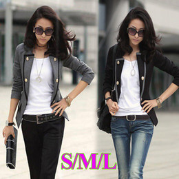 Wholesale New Fashion Spring Autumn Women Blazer Jacket Ladies Casual Suit Coat Outerwear Gray Black G0021