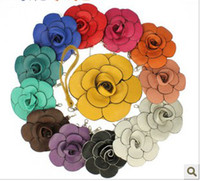 Wholesale colorfull Camellia Rose Flower Wristlet Purse Satchel Handbag Evening Coin Bag and retail