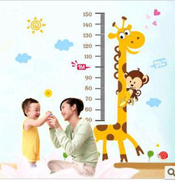 Wholesale baby monkey and giraffe height stick children room height charts Removable wallpaper lot120910