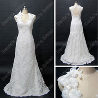 Real Photos Portrait Lace 2012 Lace Wedding Dresses Bridal Gowns Two Piece layers V Neck Stretch Satin Real Actual Images 8764