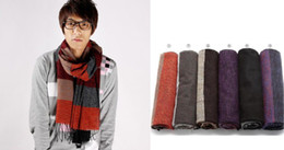 Wholesale Men s Long Scarf Winter Autumn Wool Cashmere Stripes Scarves Warm Outdoor Wear Women Collar Shawls