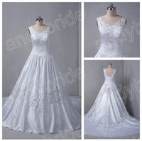 Wholesale DH Hot Sale V Neck White Wedding Dresses Gowns A Line Real Sample Bridal Wedding Dress