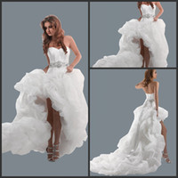 Wholesale High Sale Sexy Hi low Bridal Gowns Organza Bubble Hem Lace Up Back Wedding Dresses CTH