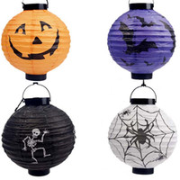 Wholesale Halloween Props Styles Portable Paper Lantern Spider Ghost Bats Pumpkin lights