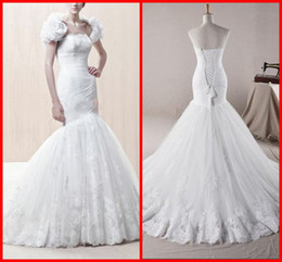 Wholesale 2012 New Vogue Mermaid Trumpet Strapless Floor length Trailing Applique Open back Wedding Dresses X4