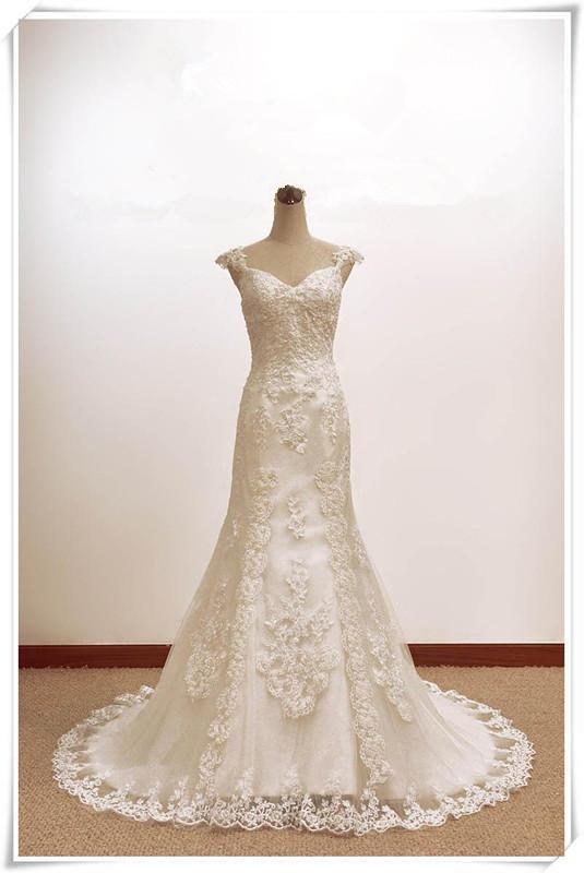 Discount custom make royal lace applique lace up high end for High end designer wedding dresses