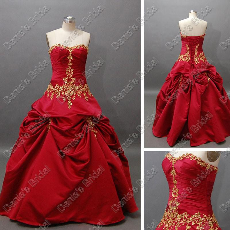2015 Christmas Luxury Red Wedding Ball Gowns Pleats Ruching With Gold ...