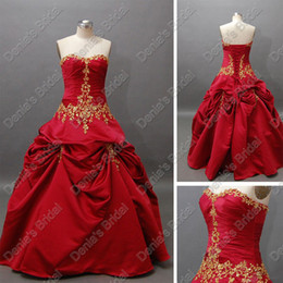 2015 Christmas Luxury Red Wedding Ball Gowns Pleats Ruching With Gold Color Embroideries Actual Real Images DB62